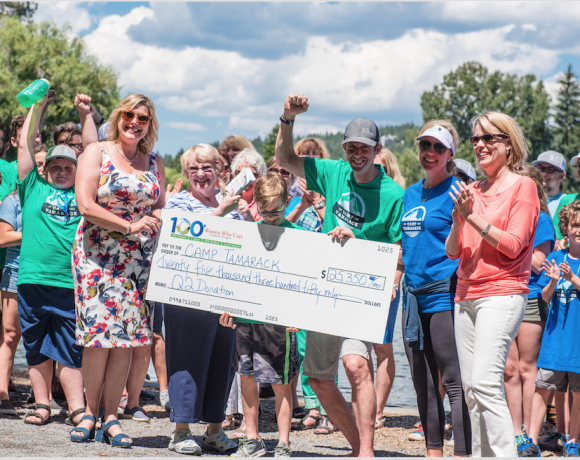 Happy campers from Camp Tamarack get a check for $25,350!